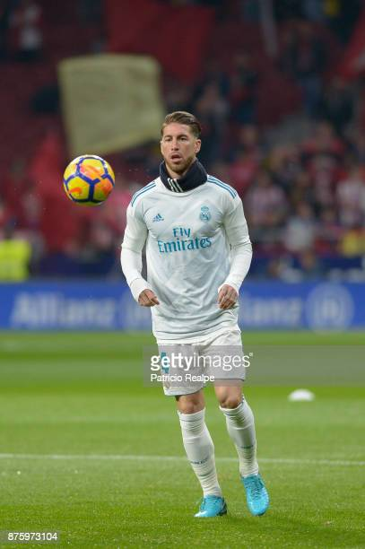 Sergio Ramos of Real Madrid warms up prior to the match between Atletico Madrid and Real Madrid as part of La Liga at Wanda Metropolitano Stadium on...