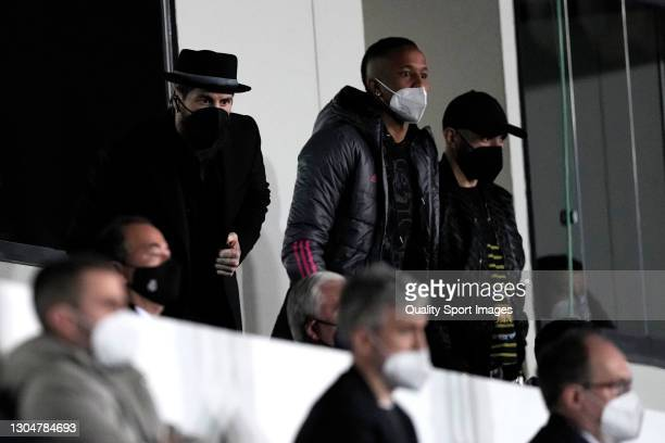 Sergio Ramos of Real Madrid watches the game from the stands during the La Liga Santander match between Real Madrid and Real Sociedad at Estadio...