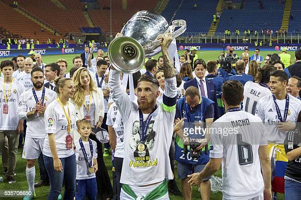Sergio Ramos of Real Madrid with Champions League trophy Coupe des clubs Champions Europeeens during the UEFA Champions League final match between...
