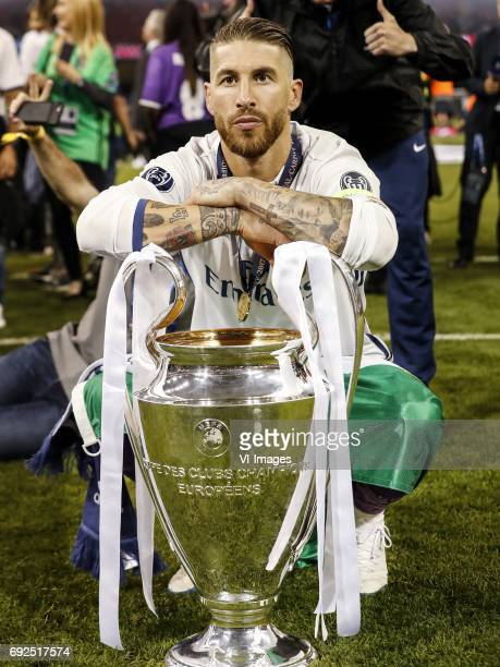 Sergio Ramos of Real Madrid with Champions League trophy Coupe des clubs Champions Europeensduring the UEFA Champions League final match between...
