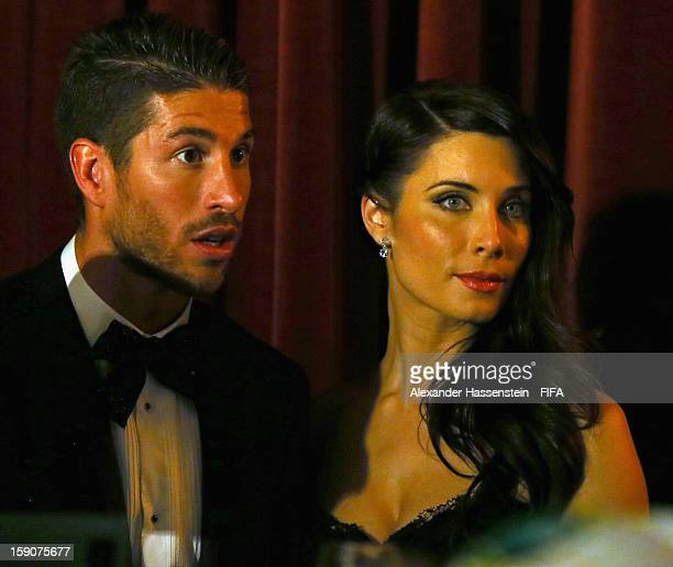 Sergio Ramos of Real Madrid with Pilar Rubio during FIFA Ballon d'Or Gala 2012 at the Kongresshaus on January 7, 2013 in Zurich, Switzerland.
