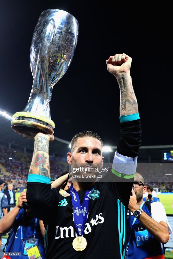Sergio Ramos of Real Madrid with the trophy after his team won during the UEFA Super Cup match between Real Madrid and Manchester United at National Arena Filip II Macedonian on August 8, 2017 in Skopje, Macedonia.