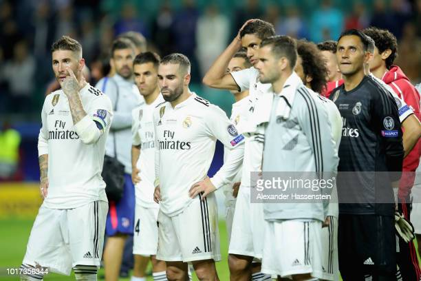 Sergio Ramos of Real reacts with his team mates after the UEFA Super Cup between Real Madrid and Atletico Madrid at Lillekula Stadium on August 15...