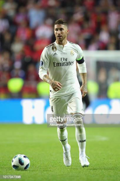 Sergio Ramos of Real runs with the ball during the UEFA Super Cup between Real Madrid and Atletico Madrid at Lillekula Stadium on August 15 2018 in...