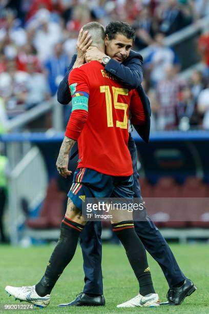 Sergio Ramos of Spain and Head coach Fernando Hierro of Spain looks dejected after the 2018 FIFA World Cup Russia match between Spain and Russia at...