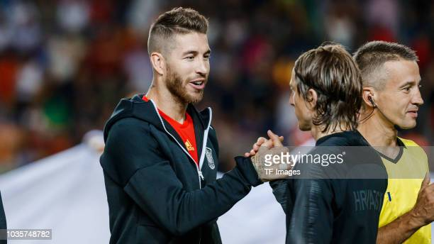 Sergio Ramos of Spain and Luka Modric of Croatia looks on during the UEFA Nations League A group four match between Spain and Croatia at Estadio...