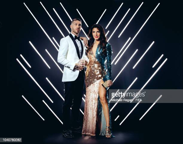 Sergio Ramos of Spain and Real Madrid and his wife Pilar Rubio are pictured inside the photo booth prior to The Best FIFA Football Awards at Royal...