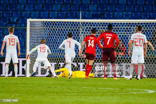 Sergio Ramos of Spain attempts a free kick defended by Goalkeeper Yann Sommer of Switzerland during the UEFA Nations League group stage match between...