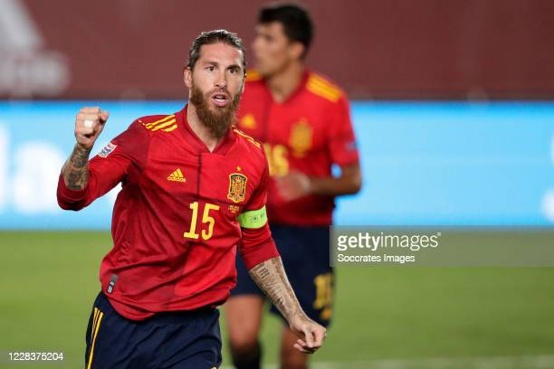 Sergio Ramos of Spain celebrates 2-0 during the UEFA Nations league match between Spain v Ukraine at the Alfredo Di Stefano Stadium on September 6,...