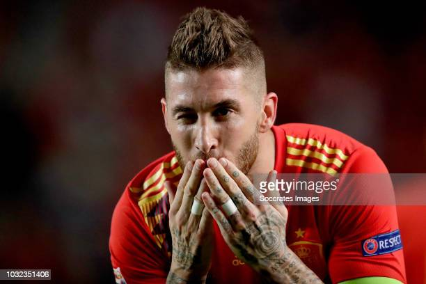 Sergio Ramos of Spain celebrates 50 during the UEFA Nations league match between Spain v Croatia at the Estadio Manuel Martínez Valero on September...