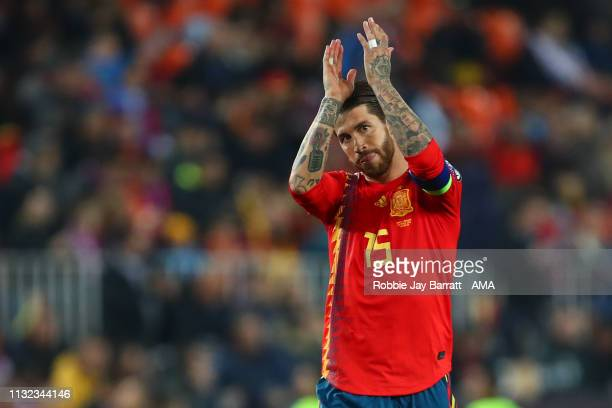 Sergio Ramos of Spain celebrates after scoring a goal to make it 21 during the 2020 UEFA European Championships group F qualifying match between...