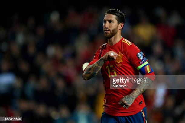 Sergio Ramos of Spain celebrates after scoring his sides first goal during the 2020 UEFA European Championships group F qualifying match between...
