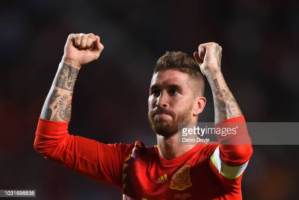 Sergio Ramos of Spain celebrates after scoring his team's fifth goal during the UEFA Nations League A Group four match between Spain and Croatia at...