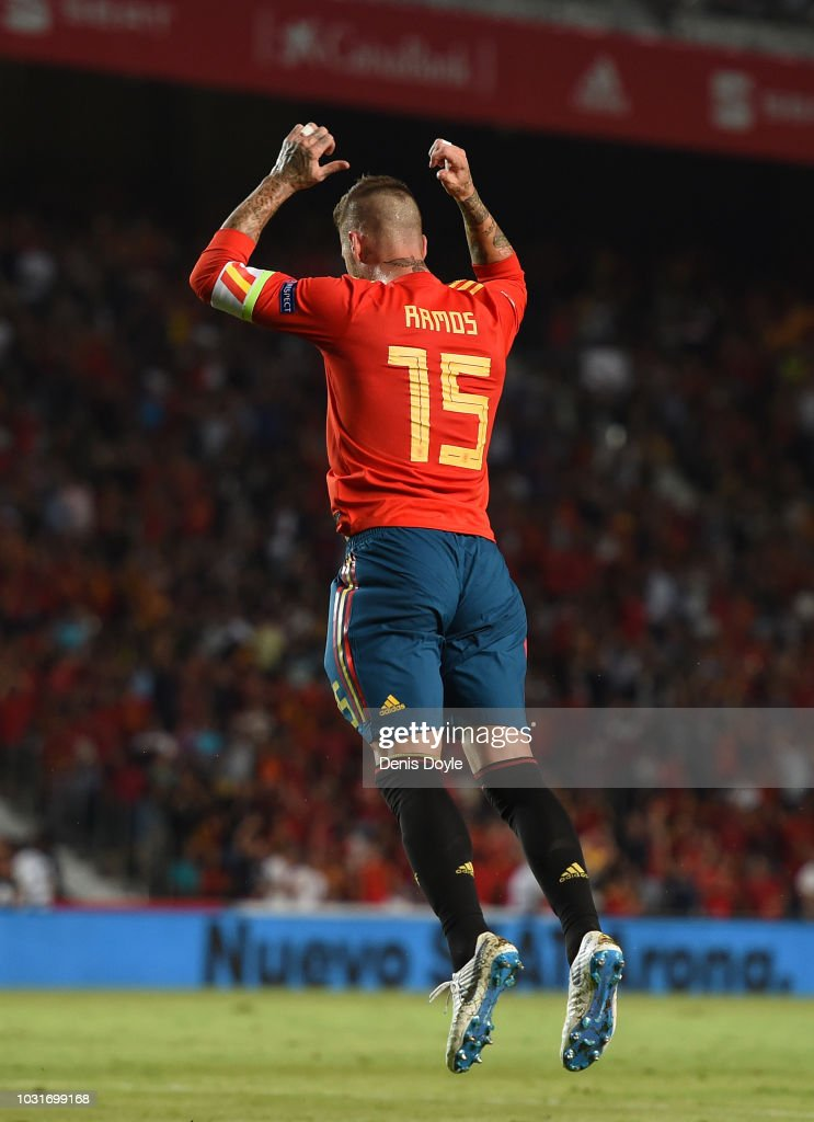 Sergio Ramos of Spain celebrates after scoring his team's fifth goal during the UEFA Nations League A Group four match between Spain and Croatia at Estadio Manuel Martinez Valero on September 11, 2018 in Elche, Spain.