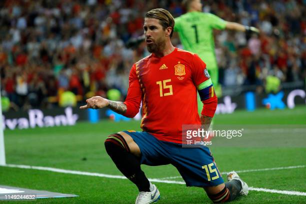Sergio Ramos of Spain celebrates after scoring his team's first goal during the UEFA Euro 2020 qualifier match between Spain and Sweden at Bernabeu...