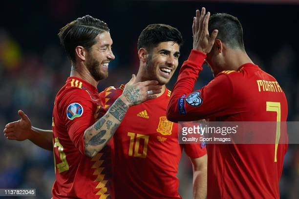 Sergio Ramos of Spain celebrates after scoring his team's second goal with Marco Asensio and Alvaro Morata during the 2020 UEFA European...