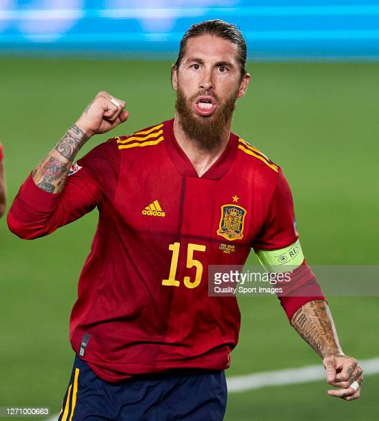 Sergio Ramos of Spain celebrates after scoring his team's second goal during the UEFA Nations League group stage match between Spain and Ukraine at...