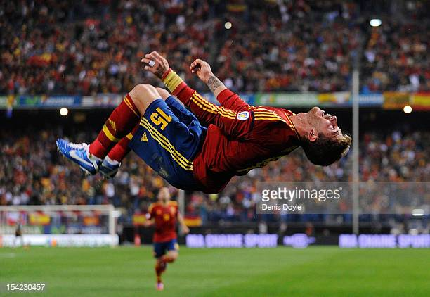 Sergio Ramos of Spain celebrates after scoring the opening goal during the FIFA 2014 World Cup Qualifier between Spain and France at estadio Vicente...