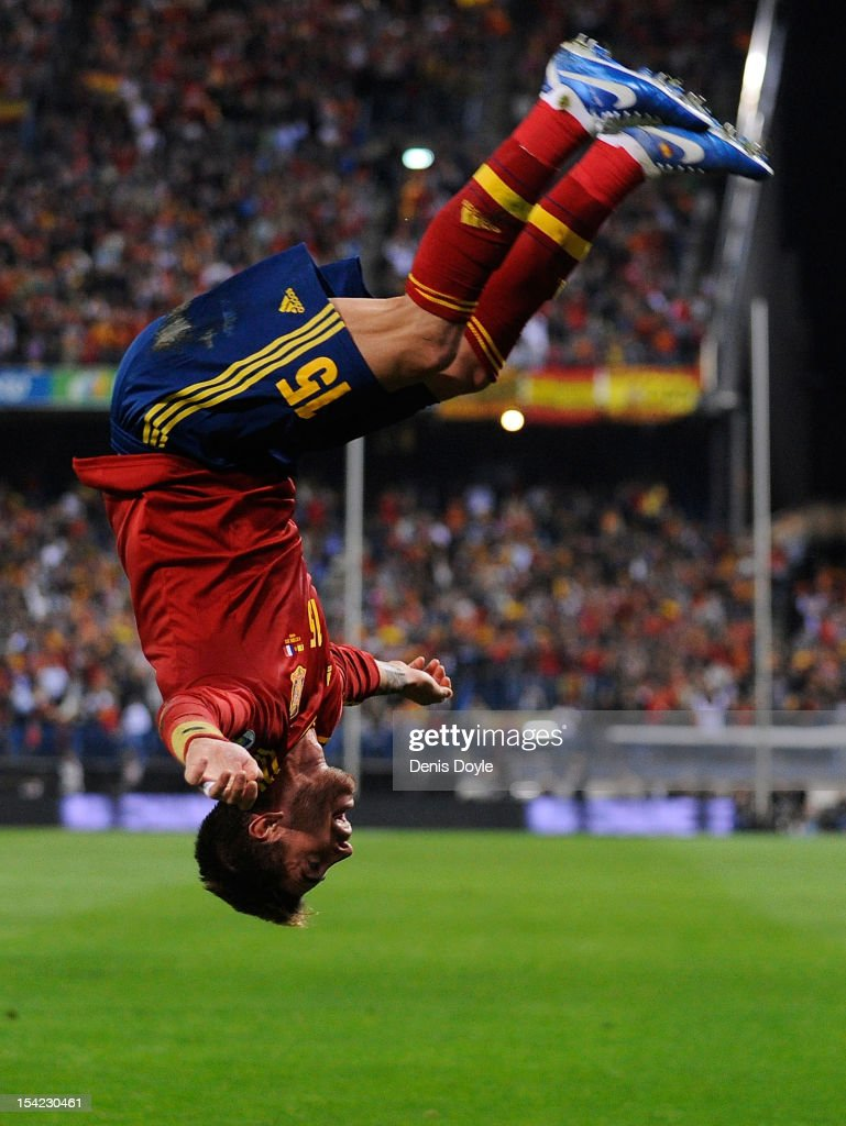 Sergio Ramos of Spain celebrates after scoring the opening goal during the FIFA 2014 World Cup Qualifier between Spain and France at estadio Vicente Calderon on October 16, 2012 in Madrid, Spain.