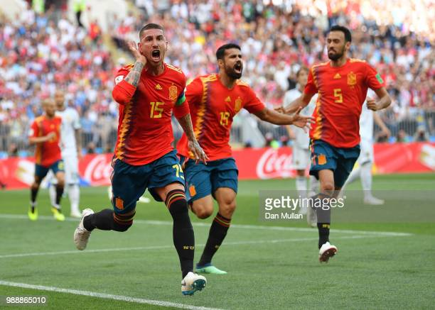 Sergio Ramos of Spain celebrates after Sergey Ignashevich of Russia scores an own goal for Spain's first goal during the 2018 FIFA World Cup Russia...