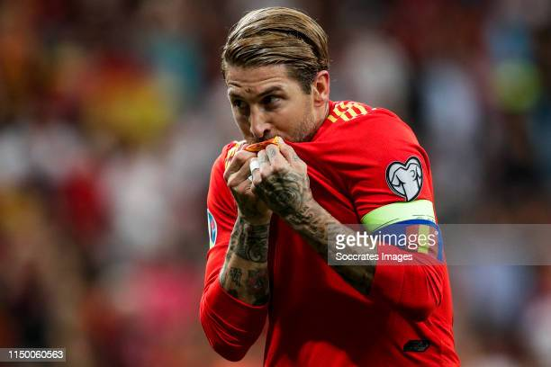Sergio Ramos of Spain celebrates goal 10 during the EURO Qualifier match between Spain v Sweden at the Estadio Santiago Bernabeu on June 10 2019 in...