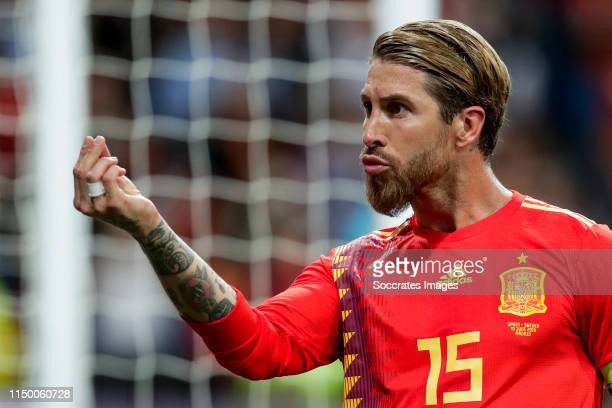 Sergio Ramos of Spain celebrates goal 1-0 during the EURO Qualifier match between Spain v Sweden at the Estadio Santiago Bernabeu on June 10, 2019 in...
