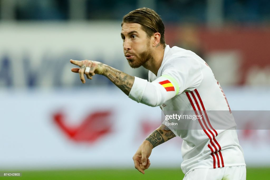 Sergio Ramos of Spain celebrates his goal during Russia and Spain International friendly match on November 14, 2017 at Saint Petersburg Stadium in Saint Petersburg, Russia.