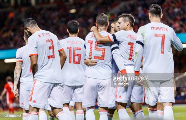 Sergio Ramos of Spain celebrates his goal with team mates during the International Friendly match between Wales and Spain on October 11 2018 in...