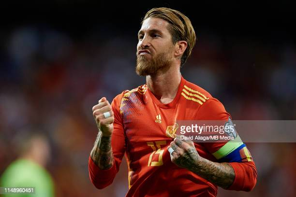 Sergio Ramos of Spain celebrates his side's first goal during the UEFA Euro 2020 qualifier match between Spain and Sweden at Santiago Bernabeu on...