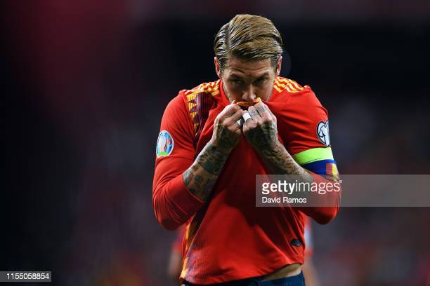 Sergio Ramos of Spain celebrates scoring during the 2020 UEFA European Championships group F match between Spain and Sweden at Bernabeu on June 10,...