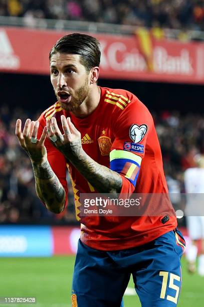 Sergio Ramos of Spain celebrates scoring his sides second goal during the 2020 UEFA European Championships group F qualifying match between Spain and...
