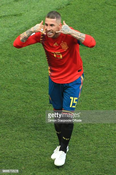 Sergio Ramos of Spain celebrates the opening goal even though it is later recorded as an owngoal during the 2018 FIFA World Cup Russia Round of 16...