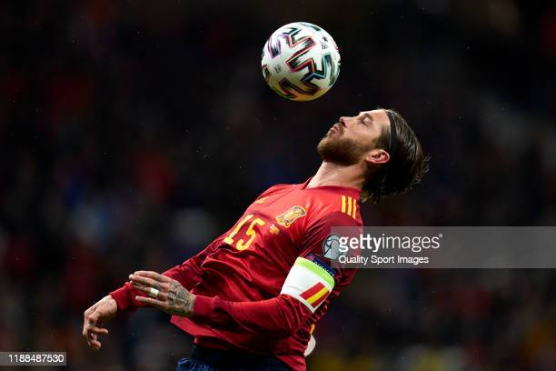 Sergio Ramos of Spain controls a ball during the UEFA Euro 2020 Qualifier between Spain and Romania on November 18, 2019 in Madrid, Spain.