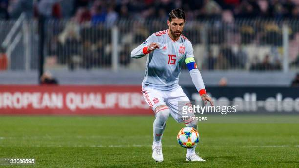 Sergio Ramos of Spain controls the ball during the 2020 UEFA European Championships group F qualifying match between Malta and Spain at Ta'Qali...