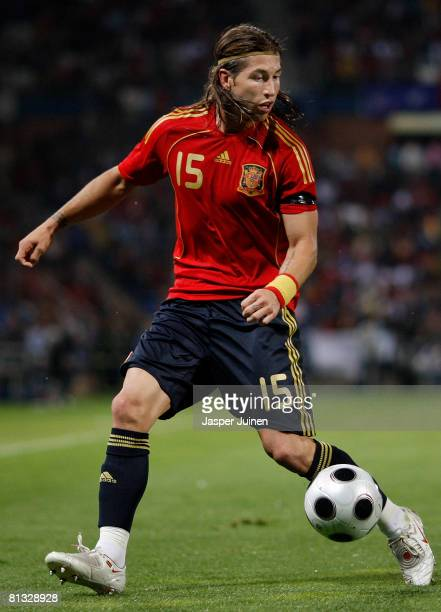 Sergio Ramos of Spain controls the ball during the international friendly match between Spain and Peru at the Nuevo Colombino stadium on May 31 2008...