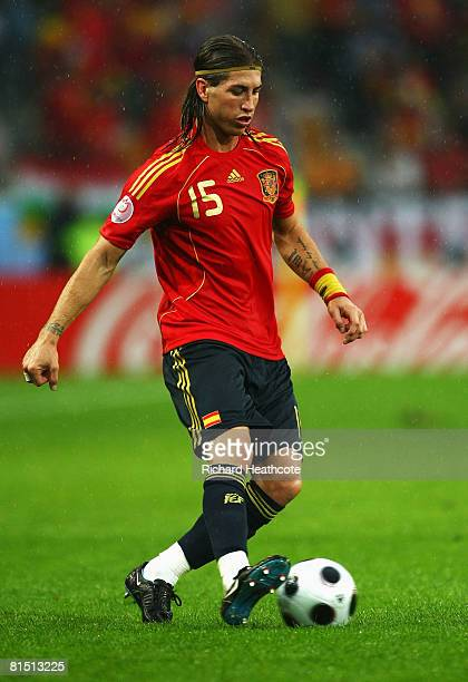 Sergio Ramos of Spain controls the ball during the UEFA EURO 2008 Group D match between Spain and Russia at Stadion Tivoli Neu on June 10 2008 in...