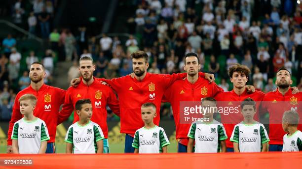 Sergio Ramos of Spain David De Gea of Spain Gerard Pique of Spain Sergio Busquets of Spain Alvaro Odriozola of Spain and Jordi Alba of Spain are seen...