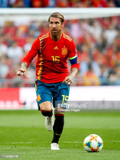 Sergio Ramos of Spain during the EURO Qualifier match between Spain v Sweden at the Estadio Santiago Bernabeu on June 10 2019 in Madrid Spain