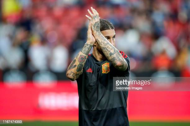 Sergio Ramos of Spain during the EURO Qualifier match between Spain v Faroe Islands at the El Molinon on September 8 2019 in Gijon Spain