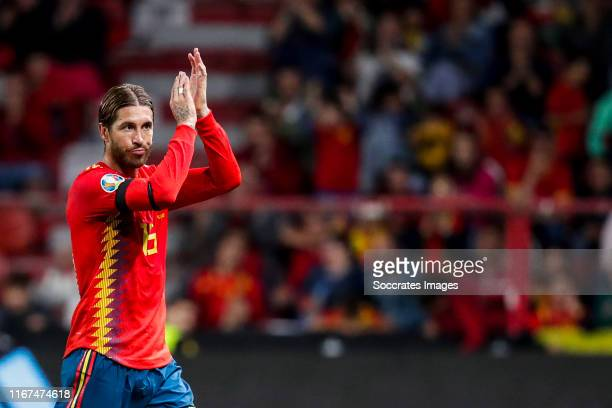 Sergio Ramos of Spain during the EURO Qualifier match between Spain v Faroe Islands at the El Molinon on September 8, 2019 in Gijon Spain