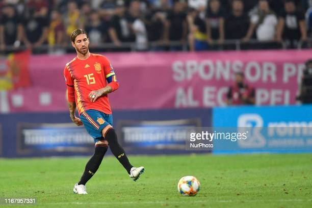 Sergio Ramos of Spain during the UEFA EURO 2020 group F qualifying football match Romania vs Spain at Arena Nationala on September 05 2019 in...