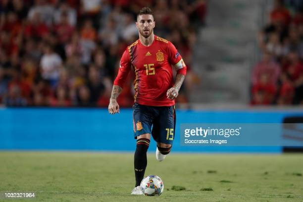 Sergio Ramos of Spain during the UEFA Nations league match between Spain v Croatia at the Estadio Manuel Martínez Valero on September 11, 2018 in...