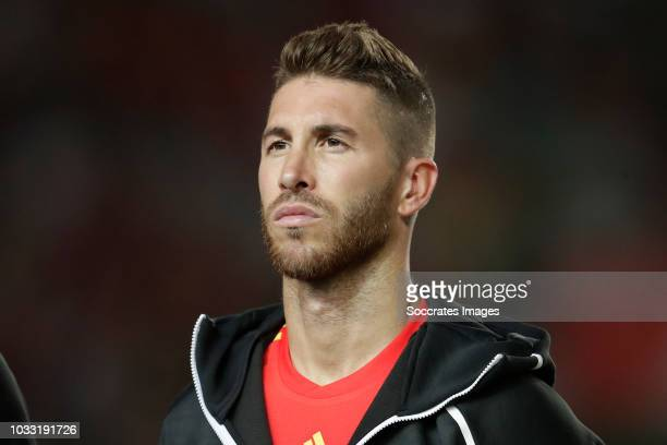 Sergio Ramos of Spain during the UEFA Nations league match between Spain v Croatia at the Estadio Manuel Martínez Valero on September 11 2018 in...