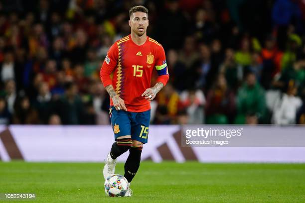 Sergio Ramos of Spain during the UEFA Nations league match between Spain v England at the Estadio Benito Villamarin on October 15, 2018 in Sevilla...