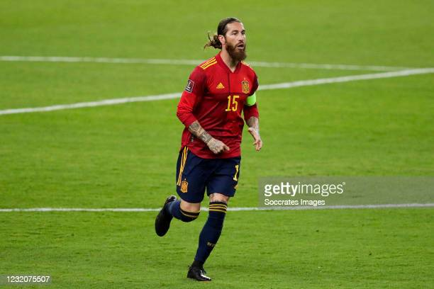 Sergio Ramos of Spain during the World Cup Qualifier match between Spain v Kosovo at the La Cartuja Stadium on March 31, 2021 in Sevilla Spain