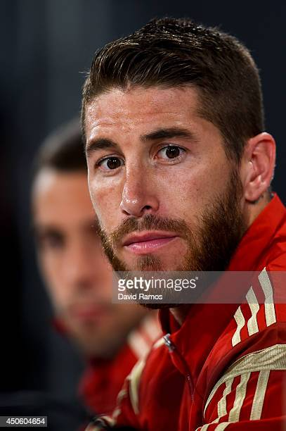 Sergio Ramos of Spain faces the media during a Spain press conference at Centro de Entrenamiento do Caju on June 14 2014 in Curitiba Brazil