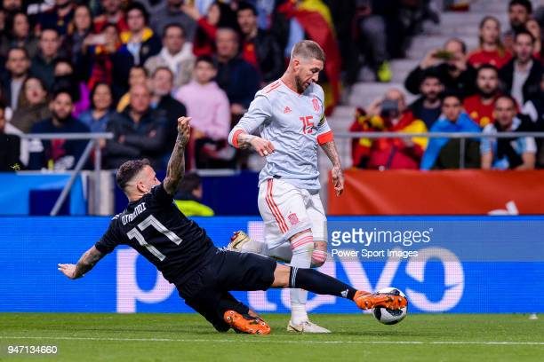 Sergio Ramos of Spain in action against Nicolas Otamendi of Argentina during the International Friendly 2018 match between Spain and Argentina at...