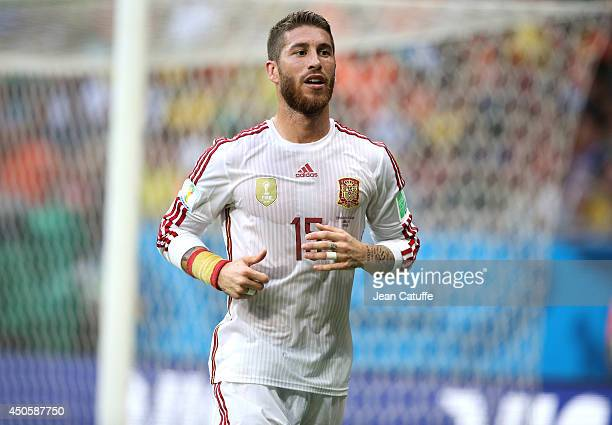 Sergio Ramos of Spain in action during the 2014 FIFA World Cup Brazil Group B match between Spain and Netherlands at Arena Fonte Nova on June 13 2014...