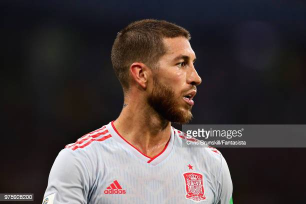 Sergio Ramos of Spain in action during the 2018 FIFA World Cup Russia group B match between Portugal and Spain at Fisht Stadium on June 15 2018 in...