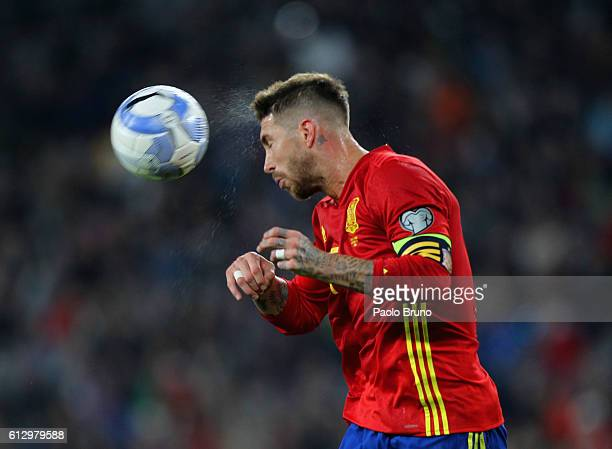 Sergio Ramos of Spain in action during the FIFA 2018 World Cup Qualifier between Italy and Spain at Juventus Stadium on October 6 2016 in Turin